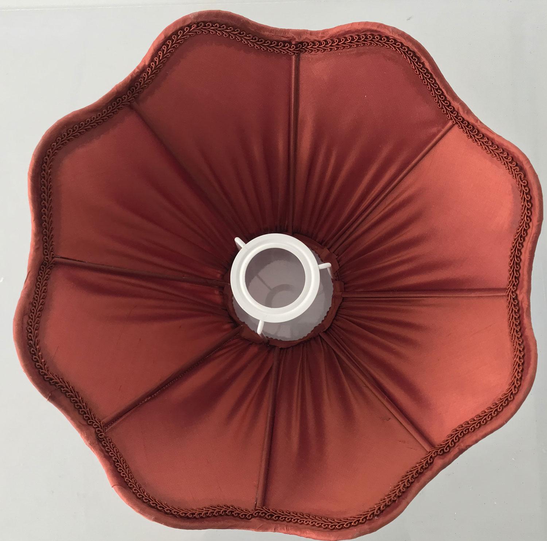 Abat Jour Tulipe Tissu abat-jour frou-frou en soie brique - les abat-jours de zaza